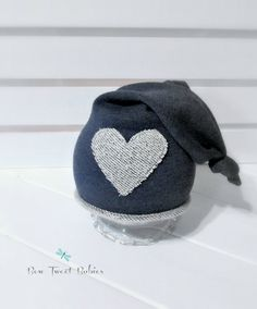 Upcycled hat  for newborn photography, boys photo prop hat in navy and cream