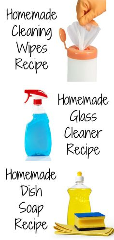 DIY Recipes for Everyday Cleaning Products #cleaning #cleaningtips #diycleaner #cleaningrecipes #homemadecleaner #glasscleaner #dishsoap #cleaningwipes