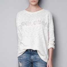 Zara Sweater with Lace Detail Cute sweater with unique lace panel on the front. Zara Sweaters