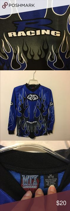 MTX Motocross Jersey..Boy's.. Size Medium Awesome racing jersey! My son wore this once and grew out of it! It's 100% polyester. It's in perfect condition. It's a size medium or 10-12 in a size boy's. MTX Motocross Shirts & Tops Tees - Long Sleeve