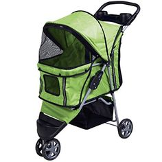 Superbuy Pet Stroller Cat Dog 3 Wheels Stroller Travel Folding Carrier Green * Read more at the image link.