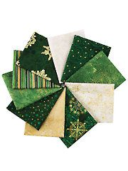 Fabric, Quilting Fabric - Stonehenge Starry Night Green Fat Quarters - 10/pkg.