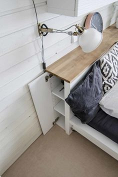 IKEA Malm dresser turned into a stylish storage headboard with a wooden top - Ikea DIY - The best IKEA hacks all in one place Bedroom Storage Ideas For Clothes, Bedroom Storage For Small Rooms, Diy Beds With Storage, Bed Storage, Craft Storage, Ikea Storage Furniture, Diy Furniture, Ikea Hack Storage, Furniture Dolly