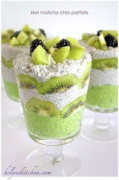 Kiwi Matcha vegan parfaits