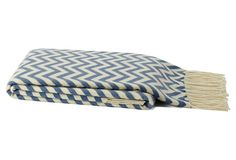 One Kings Lane - Global-Chic Style - Chevron Fringed Throw, Cerulean