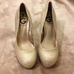"""GUESS Glitter Pumps G by GUESS Champagne Glitter Platform Pumps, worn only once. 4-5"""" heels depending on where you measure from... G by Guess Shoes"""