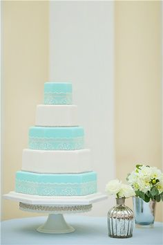 Audrey Cake - Tiffany blue wedding cake with lovely lacy layers