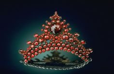 """Pyrope Hair Comb was donated to the Smithsonian in 1937. It has Bohemian pyrope garnets from the Czech Republic. Pyrope  derives its name from the Greek pyropos, meaning """"firelike."""""""