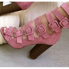 Strappy Peep Toe Chunky Heel Booties..they're cute!