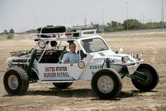 Bush riding in a Border Patrol dune buggy in Yuma. Police Truck, Police Patrol, Police Cars, Police Vehicles, Sirens, Radios, 4x4, Federal Law Enforcement, Facebook Video