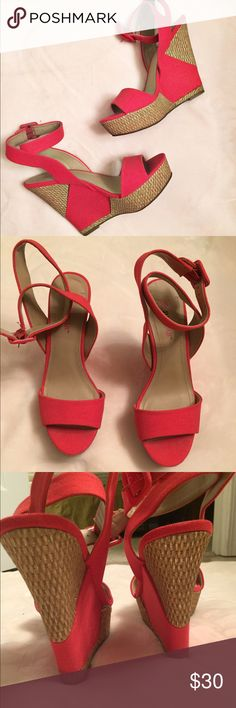 Just Fab • Red Wedges Great shape! Red wedges with weaved straw detail on wedge. Slight shimmer on wedge. Ankle strap with adjustable buckle. Almost 4 in' heel in total. JustFab Shoes Wedges