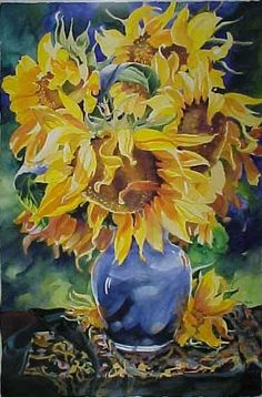 Tracy Reid, sunflowers in a blue vase by PrettyCharlie