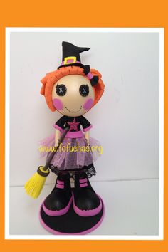 This is a special Halloween Themed Lalaloopsy fofucha doll I came up with. She is 10 inches tall. Her skirt is made with black fabric and lace. Then a top layer of pink glittery tulle. She would make a lovely one of a kind decor. She is available for purchase. visit fofuchas.org or facebook.com/fofuchashandmadedolls #halloween #fofuchas #lalaloopsy