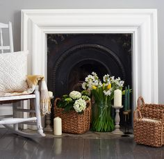 32 Creative Ways To Dress Up Your Fireplace, Installing a fireplace may add a special dimension to your residence. If you're not prepared to put money into a whole fireplace, then it is possible . Empty Fireplace Ideas, Unused Fireplace, Candles In Fireplace, Bedroom Fireplace, Fireplace Hearth, Fireplaces, Fireplace Decorations, Installing A Fireplace, Sainsburys Home