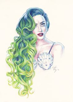 Some one is a huge Lady Gaga. *smiled* I'm a huge fan of her's too, ........Amazing! This green wig is perfect! You are really talented !!!