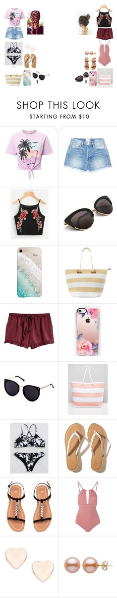 """""""bestfriend beach day"""" by sarahype on Polyvore featuring Miss Selfridge, Frame, Gray Malin, Phase Eight, Casetify, South Beach, Hollister Co., Melissa Odabash and Ted Baker"""