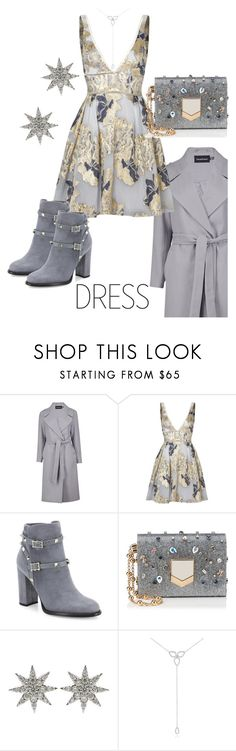 """""""Silver Dress"""" by sara12alexandra ❤ liked on Polyvore featuring Boohoo, Notte by Marchesa, Valentino, Jimmy Choo, Bee Goddess and KC Designs"""