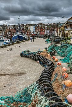 ~Fishing Quay The dockside at Scarborough is littered with nets and pots. An interesting place for a stroll~ Yorkshire England, Yorkshire Dales, North Yorkshire, British Seaside, British Isles, Cool Places To Visit, Places To Go, Costa, England And Scotland
