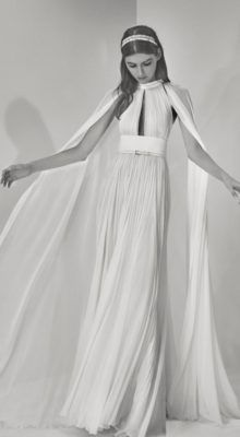 High Keyhole Neckline Cape Wedding Dress