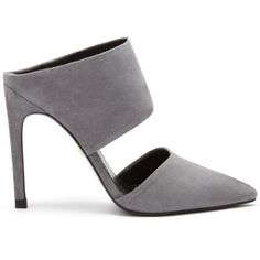 Whistles Tilla Point Mule (545 NOK) ❤ liked on Polyvore featuring shoes, pumps, heels, high heels, grey, pointed-toe pumps, high heel pumps, grey suede pumps, grey suede shoes and suede pumps