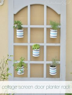 screen door turned planter rack. Grow spices indoors near window....mason jars and fake flowers...endless!!
