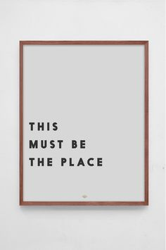 Track Poster 'This Must Be The Place' by Swedish Interior Brand Low Key︱ www.grandpa.se ︱ Scandinavian interior styling and home decor︱Shipping to Europe and the US