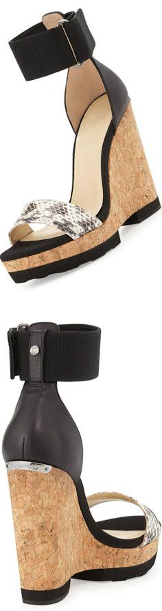 Jimmy Choo Neston Mixed-Media Wedge Sandal, Black