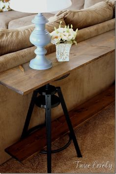 DIY~Reuse bar stools to make a sofa table