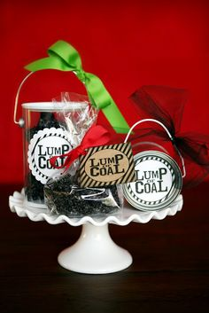 Lumps of coal for people who've been naughty! Just rice krispie treats with black icing color.