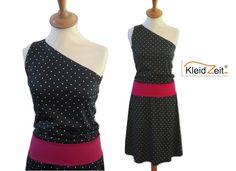 kleidzeit Sommerkleid asymmetrisch S Punkte schwarz pink von kleidzeit ® auf DaWanda.com http://de.dawanda.com/product/65198787-Sommerkleid-asymmetrisch-S-Punkte-schwarz-pink