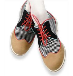 Houndstooth camel golf shoes with black, red, green piping. For Women. From Lucky Magazine.