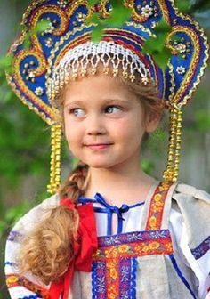 Russian girl in kokoshnik.