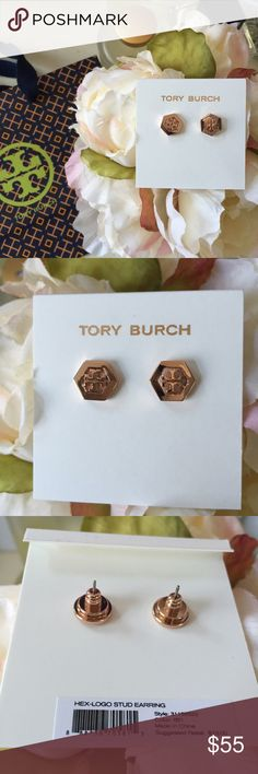 🆕 Tory Burch earrings Beautiful Tory Burch hexagon logo earrings in rose gold. Brand new and will come with dust bag & gift bag. Makes the perfect gift for this holiday season! Tory Burch Jewelry Earrings