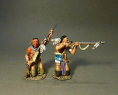 French & Indian War CAN-04A Woodland Indians Kneeling Firing & Loading #1 - Made by John Jenkins Designs Military Miniatures and Models. Factory made, hand assembled, painted and boxed in a padded decorative box. Excellent gift for the enthusiast.