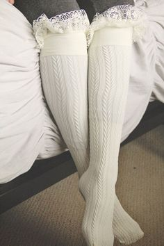Sweet Cream Frilly Lace Boot Sock, Textured, High Rise, Opaque from Murabelle on Etsy. Lace Boot Socks, Knit Socks, White Knee High Socks, Hunter Boots Outfit, Fru Fru, Fashionable Snow Boots, Mommy Style, Cute Boots, Beautiful Lingerie