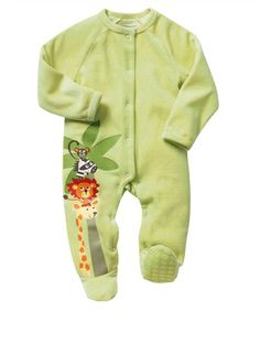 Pijama de terciopelo con estampado safari bebé niño PISTACHO