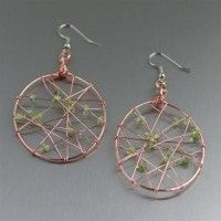 #Copper Wire Wrapped Drop Earrings with #Peridot. Casual Elegance   http://www.johnsbrana.com/copper-wire-wrapped-drop-earrings-with-peridot.html  $75.00