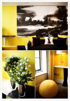 So bold! Yellow, black and white room...