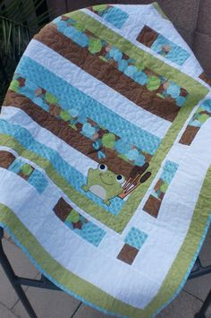 Baby Frog Quilt.  Lap quilt or Wallhanging for by FuzzyLionQuilts, $39.99