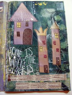 mixed media art journal page from Studio B - Little houses