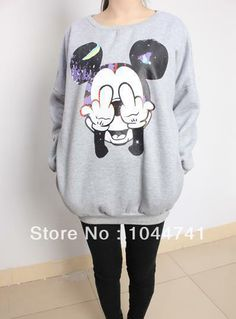 14.60 euro incl shipping 2013 Autumn New Long Sleeve Mickey Mouse Print  Loose Sweatshirt For Female Women White black Pullover Free Shipping-in  Hoodies ... e27663742