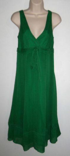 J CREW Colette Dress 100% Crinkled Silk Chiffon Jade (Emerald Green) sz 6 NWT
