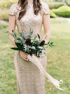 {Rustic Glam Bridesmaid's Wedding Florals Comprised Of: Black Scabiosa, White Eremurus, & Several Varieties Of Greenery/Foliage, Hand Tied With A Blush, Silk Satin Ribbon}