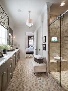 - Master Bathroom Pictures From HGTV Smart Home 2014 on HGTV  ~~   Yes, that's a TV in the shower!!!!