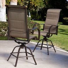 Coral Coast Del Rey Padded Sling Swivel Balcony Bar Stool - Set of 2 - Outdoor Dining Chairs at Hayneedle