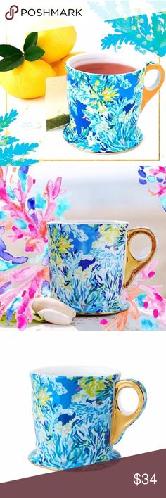 $3️⃣6️⃣Lilly Pulitzer Wade & Sea Mug NWT UNOPENED *LIMITED EDITION*  Breathtaking, generously sized, Lilly Pulitzer Coffee/Tea Mug in the new print Wade and Sea, New In Box, New With Tags! This mug has a unique, elegant shape with metallic gold trim! The mug pictured is my personal one, but yours will arrive never opened, in the original wrap and printed box! It will be carefully wrapped for shipment in an additional box to prevent any damage! $36 total Ⓜ️. No trades.  I will bundle price my…