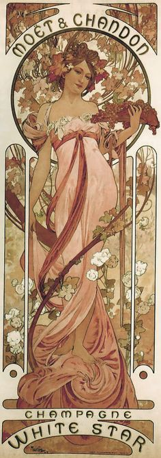 These prints represent the 'very best' of Alphonse Mucha and Art Nouveau. Get an instant Art Nouveau display with Alphonse Mucha. Job Job Each print is presented upon a heavyweight light canvas effect fine art paper. Mucha Art Nouveau, Alphonse Mucha Art, Art Nouveau Poster, Old Illustrations, Art Et Illustration, Moet Chandon, Retro Poster, Poster Vintage, Vintage French Posters