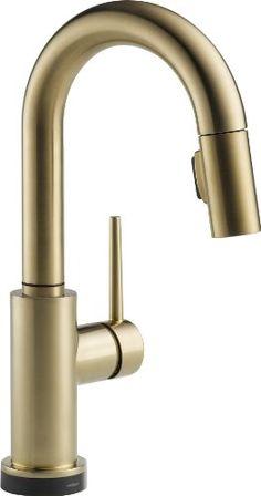 Delta Faucet 9959T-CZ-DST Trinsic Single Handle Pull-Down Bar/Prep Faucet Featuring