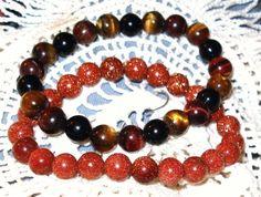 New 2 exquisite bangle beaded bracelets,1 tigers eye, 1 gold sandstone