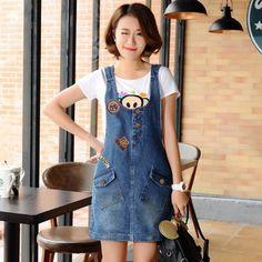 Snowlake Female Korea Style New Spring and Summer 2017 Sweet Denim Suspenders Skirt Korea Fashion, Suspenders, Overalls, Korea Style, Female, Denim, Spring, Casual, Skirts